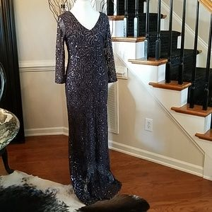 Marina Sequin and Lace Blue Formal Dress